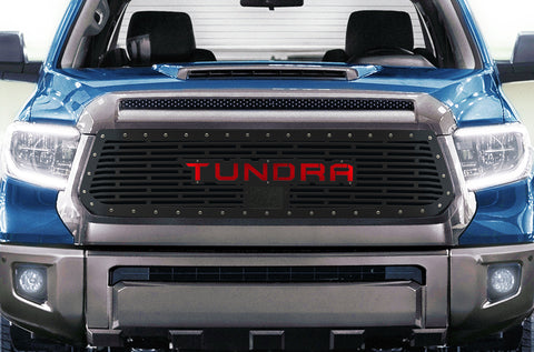1 Piece Steel Grille for Toyota Tundra 2018-2020  Sport - TUNDRA V1 with RED ACRYLIC UNDERLAY