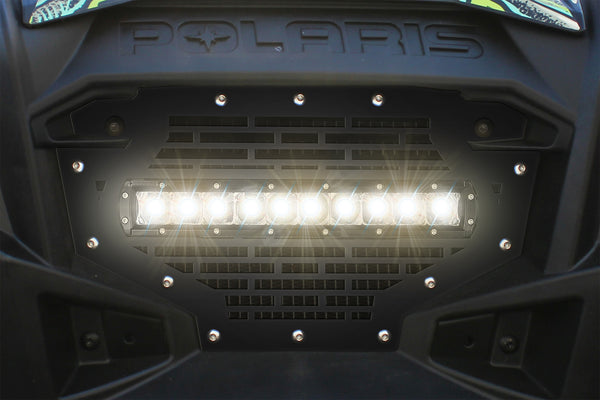 1 Piece Steel Grille for Polaris RZR 800/900 2011-2014 - BRICKS WITH LED LIGHT BAR