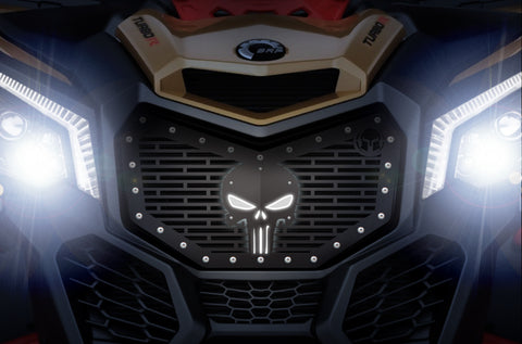 1 Piece Steel LED X-Lite Grille CanAm Maverick X3 - PUNISHER SKULL
