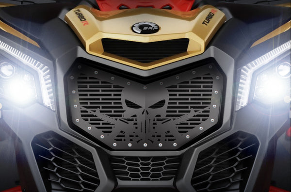 1 Piece Steel Grille CanAm Maverick X3 - PUNISHER SKULL AR-15