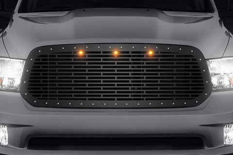 Steel Grille for Dodge Ram 1500 2013-2018 - Bricks with Amber LEDs