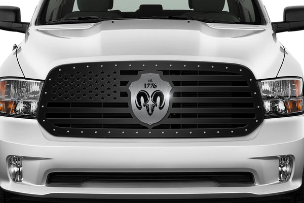 Steel Grille for Dodge Ram 1500 2013-2018 - AMERICAN FLAG + Badge