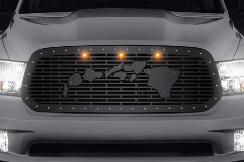 Steel Grille for Dodge Ram 1500 2013-2018 - Hawaiian Islands with Amber LEDs