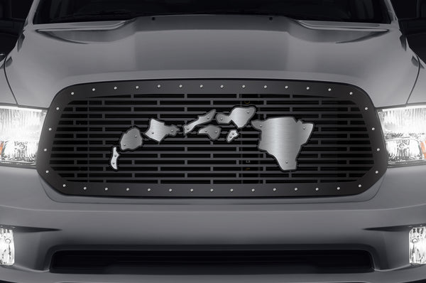 Steel Grille for Dodge Ram 1500 2013-2018 - Hawaiian Islands with Stainless Overlay