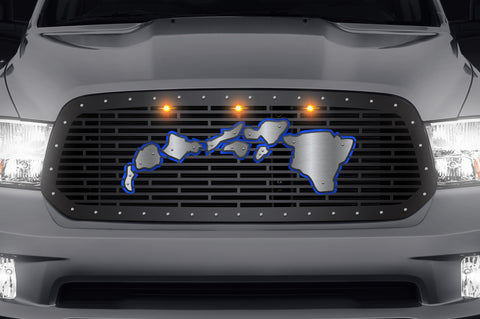 Steel Grille for Dodge Ram 1500 2013-2018 - Hawaiian Islands with Stainless Overlay/Blue Underlay 3 Amber LEDs