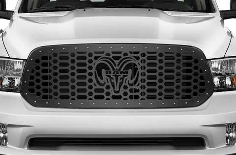 1 Piece Steel Grille for Dodge Ram 1500 2013-2016 - RAM HEAD