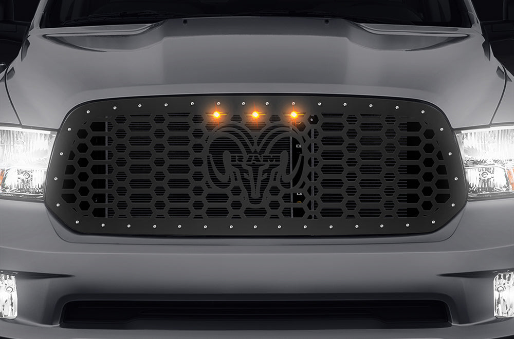 1 piece steel grille for dodge ram 1500 2013 2018 ram head 3 rapto 300 industries 1 piece steel grille for dodge ram 1500 2013 2018 ram head 3 raptor amber lights