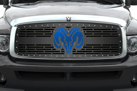 1 Piece Steel Grille for Dodge Ram 1500/2500/3500 2002-2005 - RAM HEAD w/ BLUE ACRYLIC UNDERLAY