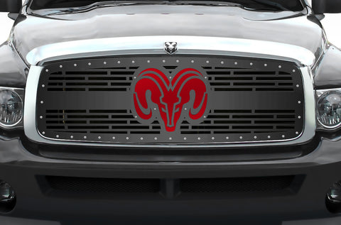 1 Piece Steel Grille for Dodge Ram 1500/2500/3500 2002-2005 - RAM HEAD w/ RED ACRYLIC UNDERLAY