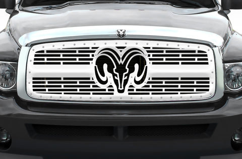 1 Piece Steel Grille for Dodge Ram 1500/2500/3500 2002-2005 - RAM HEAD with STEEL FINISH