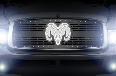 1 Piece LED X-Lite Steel Grille for Dodge Ram 2002-2005 - RAM HEAD