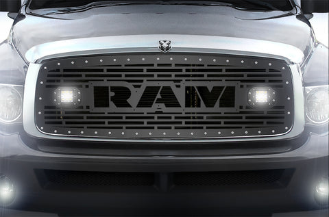 1 Piece Steel Grille for Dodge Ram 1500/2500/3500 2002-2005 - RAM  + LED Light Pods