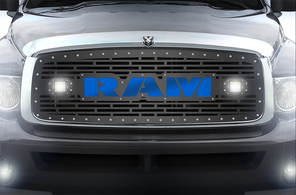 1 piece steel grille for dodge ram 1500 2500 3500 2002 2005 ram le 300 industries 1 piece steel grille for dodge ram 1500 2500 3500 2002 2005 ram led light pods blue acrylic