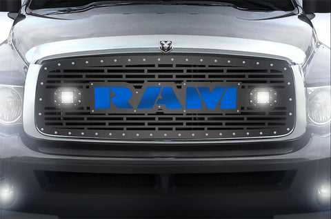 1 Piece Steel Grille for Dodge Ram 1500/2500/3500 2002-2005 - RAM  + LED Light Pods + Blue Acrylic