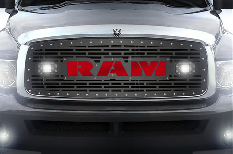 1 Piece Steel Grille for Dodge Ram 1500/2500/3500 2002-2005 - RAM  + LED Light Pods + Red Acrylic