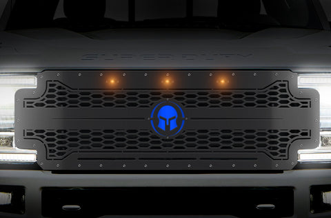 1 Piece Steel Grille for Ford SuperDuty F250/F350 2017-2019 | Spartan W/ underlay and Amber LEDs