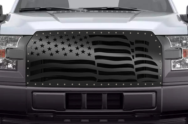 2015 Ford F150 Grill >> 1 Piece Steel Grille For Ford F150 2015 2017 American Flag Wave