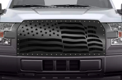 1 Piece Steel Grille for Ford F150 2015-2017 - AMERICAN FLAG WAVE
