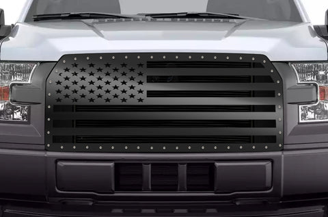 1 Piece Steel Grille for Ford F150 2015-2017 - AMERICAN FLAG SOLID