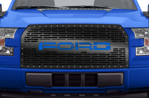 1 Piece Steel Grille for Ford F150 2015-2017 - FORD with BLUE ACRYLIC UNDERLAY