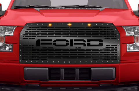 1 Piece Grille with 3 Raptor Style Lights for Ford F150 2015-2017 - FORD
