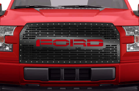 1 Piece Steel Grille for Ford F150 2015-2017 - FORD with RED ACRYLIC UNDERLAY
