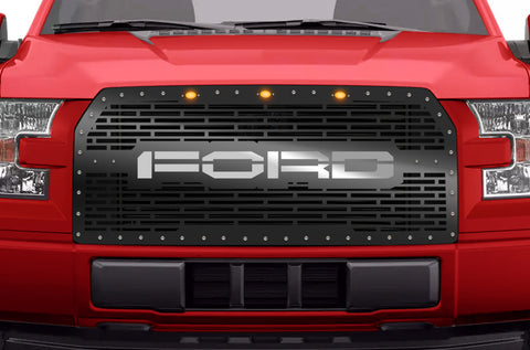 1 Piece Grille with 3 Raptor Style Lights for Ford F150 2015-2017 - FORD w/ SS UNDERLAY
