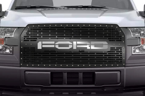 1 Piece Steel Grille for Ford F150 2015-2017 - FORD WITH STAINLESS STEEL UNDERLAY