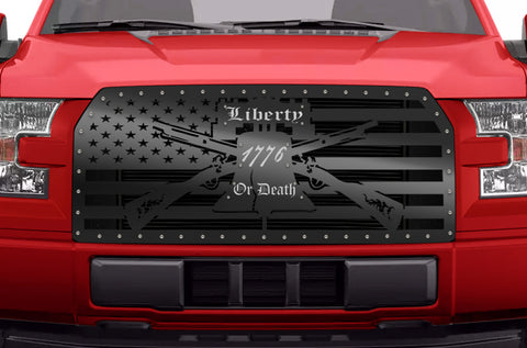 1 Piece Steel Grille for Ford F150 2015-2017 - AMERICAN FLAG with STAINLESS STEEL 1776 UNDERLAY
