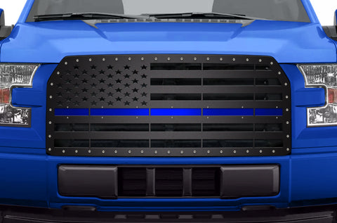 1 Piece Steel Grille for Ford F150 2015-2017 - AMERICAN FLAG with BLUE ACRYLIC UNDERLAY