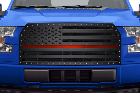 1 Piece Steel Grille for Ford F150 2015-2017 - AMERICAN FLAG with RED ACRYLIC UNDERLAY