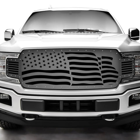 1 Piece Steel Grille for Ford F150 2018-2020 - Waving Flag