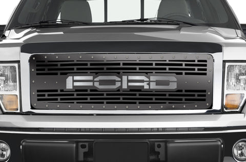 1 Piece Steel Grille for Ford F150 2009-2014 - FORD with STAINLESS STEEL UNDERLAY