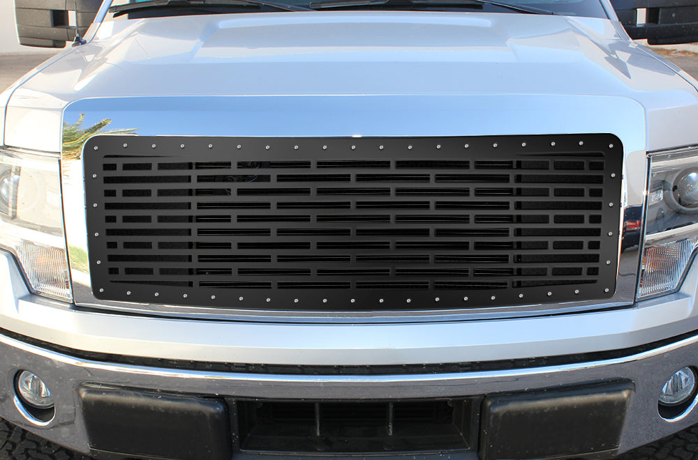1 Piece Steel Grille For Ford F150 Lariat 2009 2012 Bricks 300