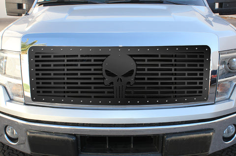 1 Piece Steel Grille for Ford F150 Lariat 2009-2012 - SKULL