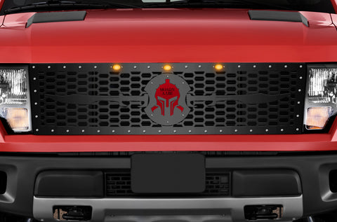 1 Piece Steel Grille for Ford Raptor SVT 2010-2014 - SPARTAN WITH RED ACRYLIC UNDERLAY
