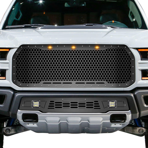 1 Piece Steel Grille for Ford Raptor SVT 2017-2020 - HEX