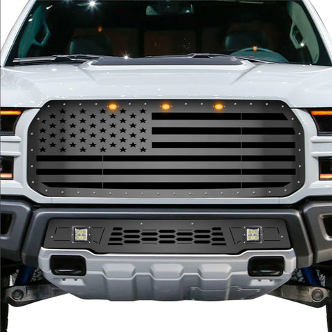 1 Piece Steel Grille for Ford Raptor SVT 2017-2020 - USA FLAG STRAIGHT