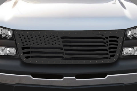 1 Piece Steel Grille for Chevy Silverado - AMERICAN FLAG