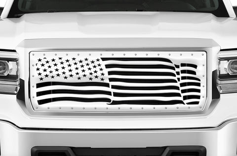 1 Piece Steel Grille for GMC Sierra & Sierra Denali 2014-2015 - AMERICAN FLAG WAVE w/ STEEL FINISH