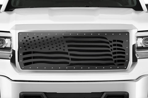1 Piece Steel Grille for GMC Sierra & Sierra Denali 2014-2015 - AMERICAN FLAG WAVE