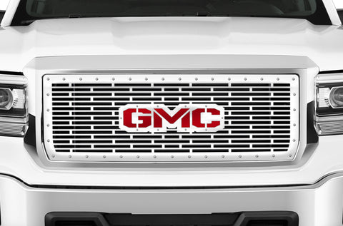 1 Piece Steel Grille for GMC Sierra & Sierra Denali 2014-2015 - GMC w/ RED ACRYLIC UNDERALY and STAINLESS STEEL OVERLAY Steel Finish