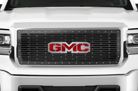 1 Piece Steel Grille for GMC Sierra & Sierra Denali 2014-2015 - GMC w/ RED ACRYLIC UNDERALY and STAINLESS STEEL OVERLAY