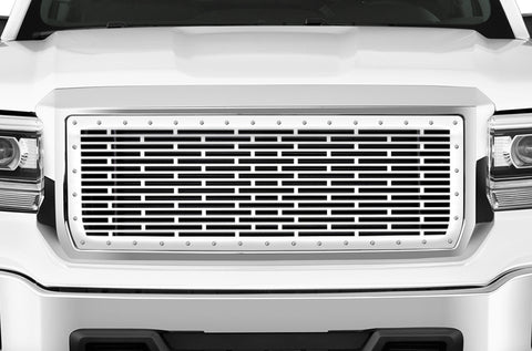 1 Piece Steel Grille for GMC Sierra & Sierra Denali 2014-2015 - BRICKS w/ STEEL FINISH