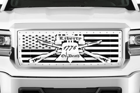 1 Piece Steel Grille for GMC Sierra & Sierra Denali 2014-2015 - LIBERTY OR DEATH w/ STEEL FINISH