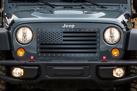 1 Piece Steel Grille for Jeep Wrangler 2007-2016 - AMERICAN FLAG SOLID