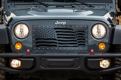 1 Piece Steel Grille for Jeep Wrangler 2007-2016 - AMERICAN FLAG WAVE