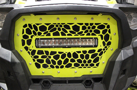 1 Piece Steel Grille for Polaris RZR 2017 Turbo - MARINE CAMO with 10