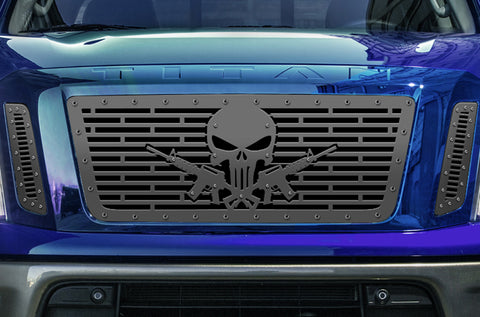 1 Piece Steel Grille for Nissan Titan 2016-2019 - SKULL & GUNS