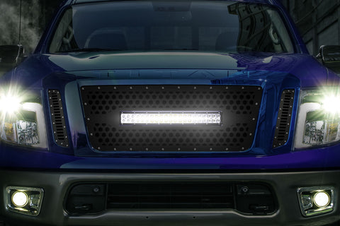 1 Piece Steel Grille for Nissan Titan 2016-2019 - Hex Light Bar